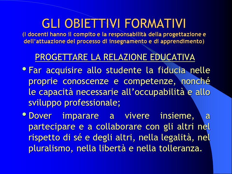 GLI OBIETTIVI FORMATIVI (I docenti hanno il compito e la responsabilità della progettazione e dell'attuazione del processo di insegnamento e di appren
