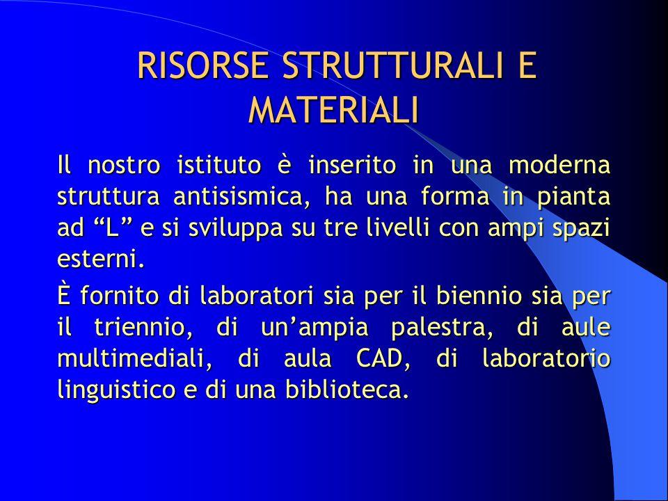 """RISORSE STRUTTURALI E MATERIALI Il nostro istituto è inserito in una moderna struttura antisismica, ha una forma in pianta ad """"L"""" e si sviluppa su tre"""