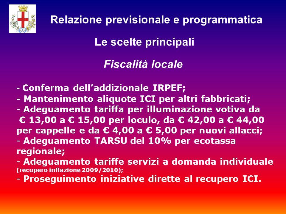 - Conferma dell'addizionale IRPEF; - Mantenimento aliquote ICI per altri fabbricati; - Adeguamento tariffa per illuminazione votiva da € 13,00 a € 15,00 per loculo, da € 42,00 a € 44,00 per cappelle e da € 4,00 a € 5,00 per nuovi allacci; - Adeguamento TARSU del 10% per ecotassa regionale; - Adeguamento tariffe servizi a domanda individuale (recupero inflazione 2009/2010); - Proseguimento iniziative dirette al recupero ICI.
