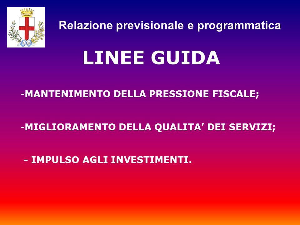 LINEE GUIDA -MANTENIMENTO DELLA PRESSIONE FISCALE; -MIGLIORAMENTO DELLA QUALITA' DEI SERVIZI; - IMPULSO AGLI INVESTIMENTI.