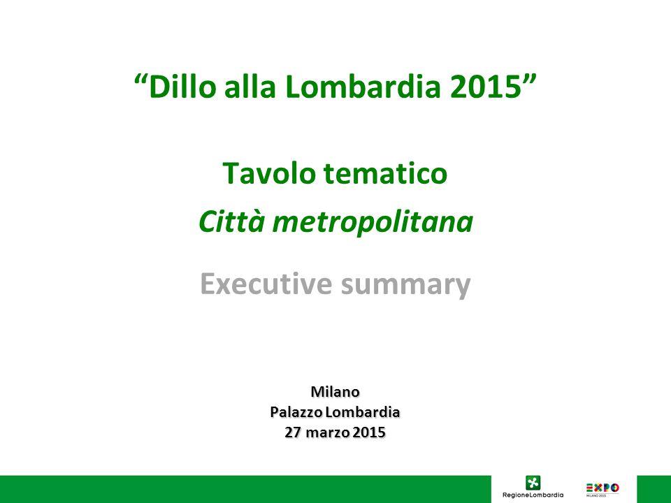 Dillo alla Lombardia 2015 Tavolo tematico Città metropolitana Executive summary Milano Palazzo Lombardia 27 marzo 2015