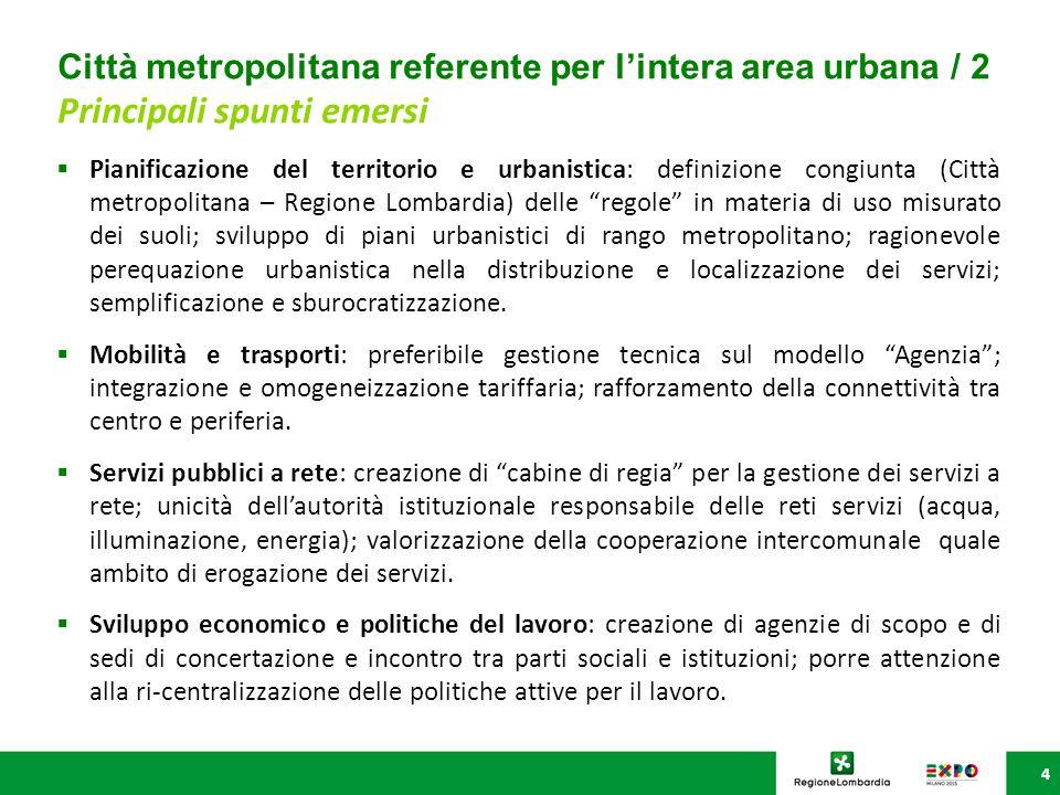 """4  Pianificazione del territorio e urbanistica: definizione congiunta (Città metropolitana – Regione Lombardia) delle """"regole"""" in materia di uso misu"""