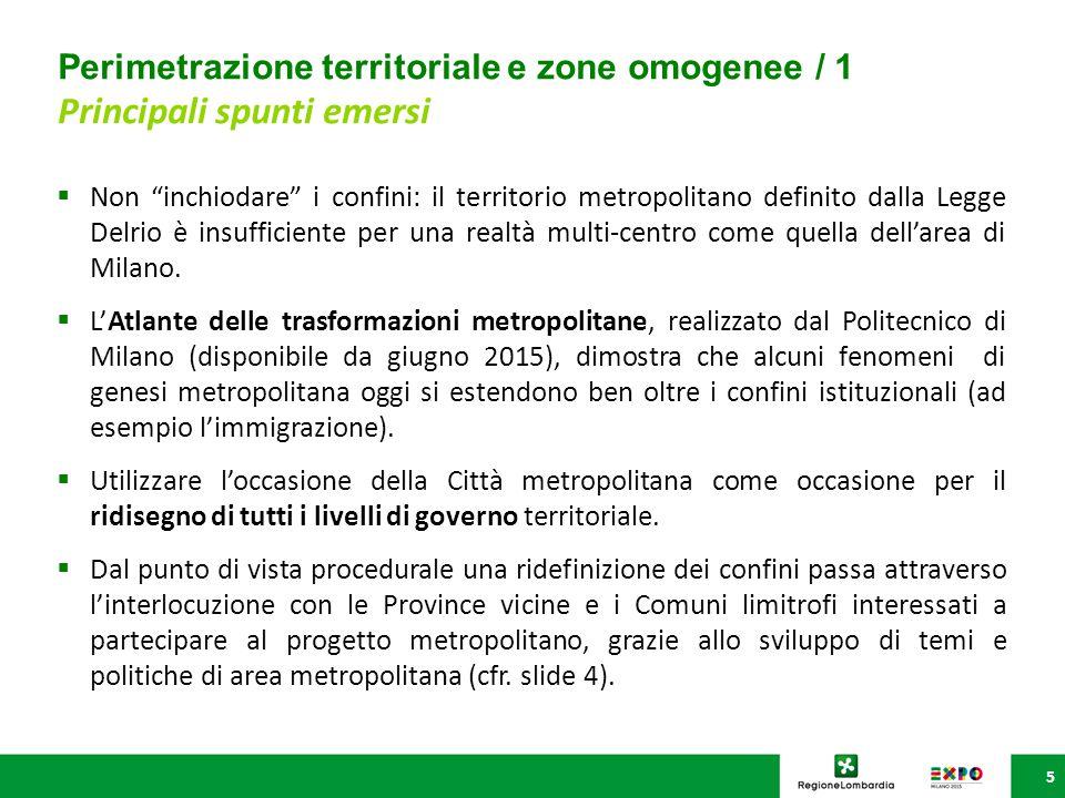 Perimetrazione territoriale e zone omogenee / 2 Principali spunti emersi 6  L'allargamento dei confini può essere bilanciato con la definizione interna alla Città metropolitana di zone omogenee, che sarà fondamentale per dare valore agli altri poli istituzionali dell'area.