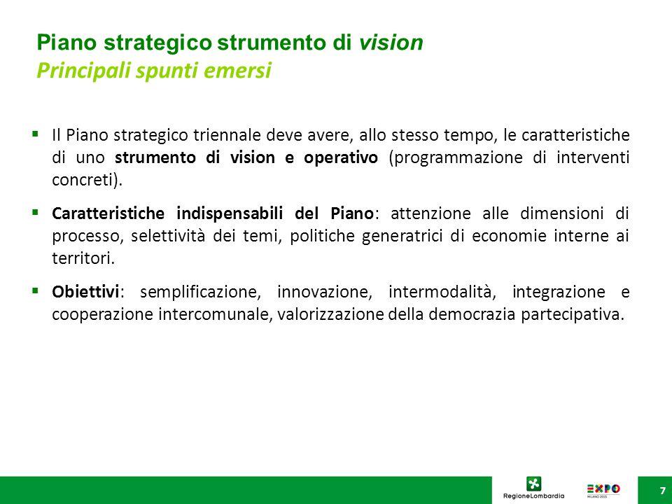 Piano strategico strumento di vision Principali spunti emersi 7  Il Piano strategico triennale deve avere, allo stesso tempo, le caratteristiche di uno strumento di vision e operativo (programmazione di interventi concreti).