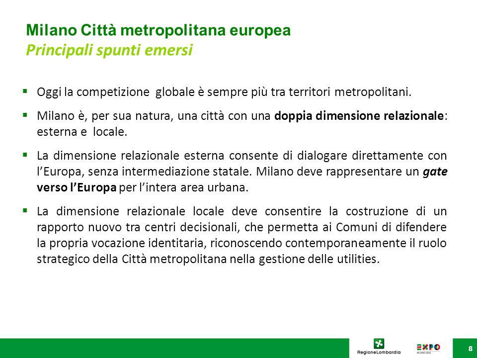 Milano Città metropolitana europea Principali spunti emersi 8  Oggi la competizione globale è sempre più tra territori metropolitani.  Milano è, per