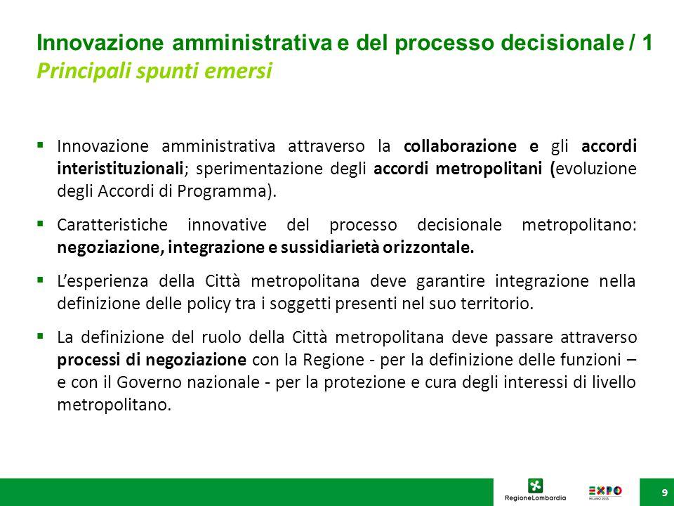 Innovazione amministrativa e del processo decisionale / 1 Principali spunti emersi 9  Innovazione amministrativa attraverso la collaborazione e gli accordi interistituzionali; sperimentazione degli accordi metropolitani (evoluzione degli Accordi di Programma).