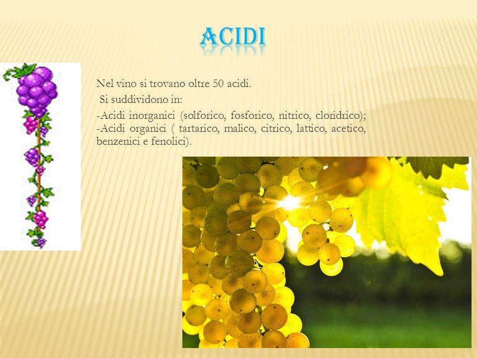 Nel vino si trovano oltre 50 acidi. Si suddividono in: -Acidi inorganici (solforico, fosforico, nitrico, cloridrico); -Acidi organici ( tartarico, mal