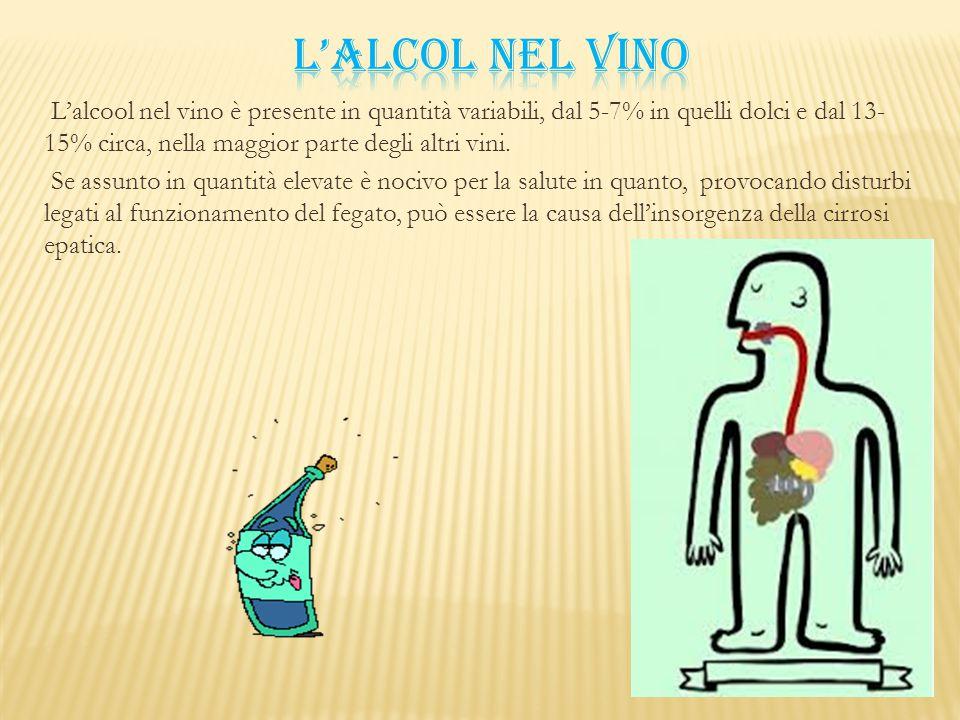 L'alcool nel vino è presente in quantità variabili, dal 5-7% in quelli dolci e dal 13- 15% circa, nella maggior parte degli altri vini. Se assunto in