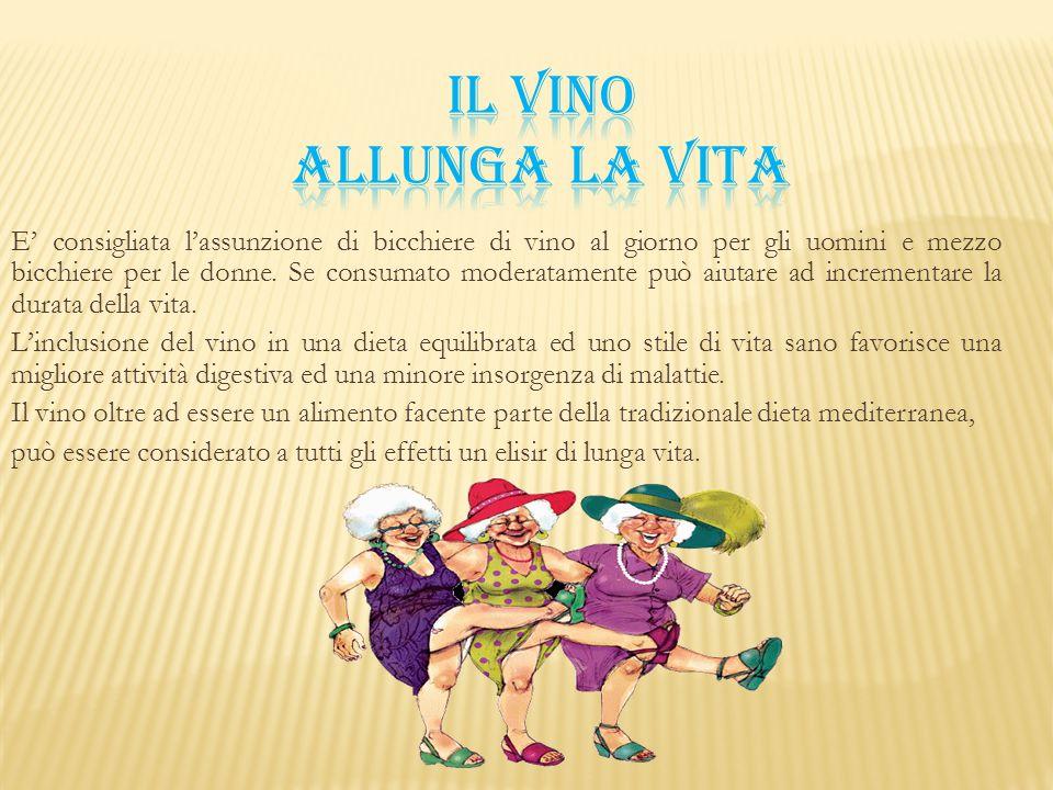 E' consigliata l'assunzione di bicchiere di vino al giorno per gli uomini e mezzo bicchiere per le donne. Se consumato moderatamente può aiutare ad in