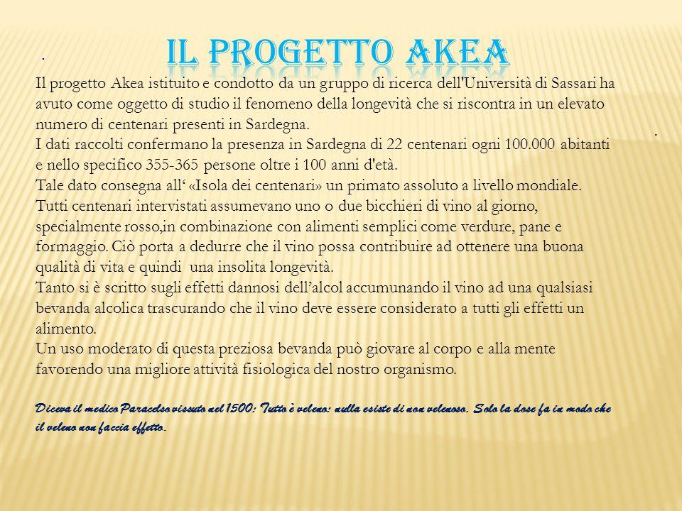 .. Il progetto Akea istituito e condotto da un gruppo di ricerca dell'Università di Sassari ha avuto come oggetto di studio il fenomeno della longevit