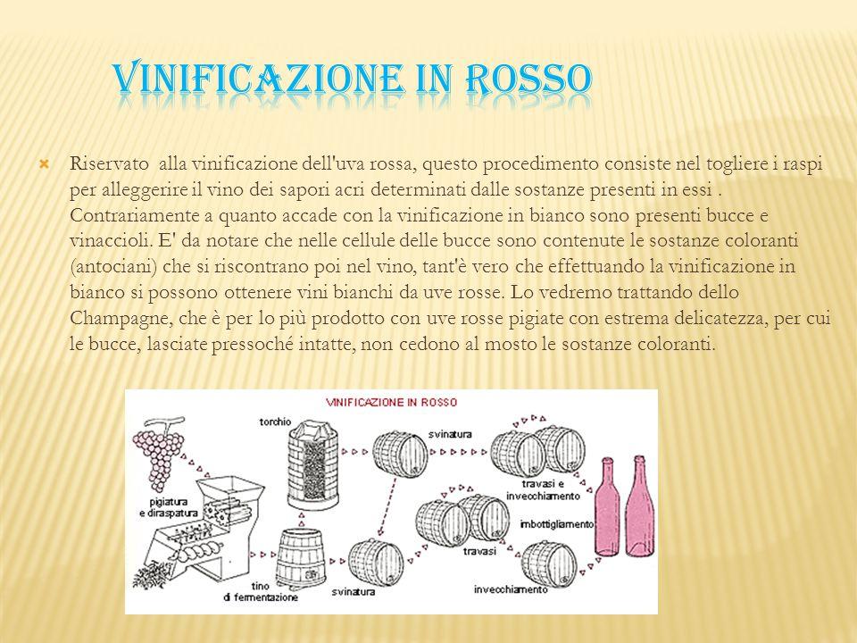  Riservato alla vinificazione dell'uva rossa, questo procedimento consiste nel togliere i raspi per alleggerire il vino dei sapori acri determinati d