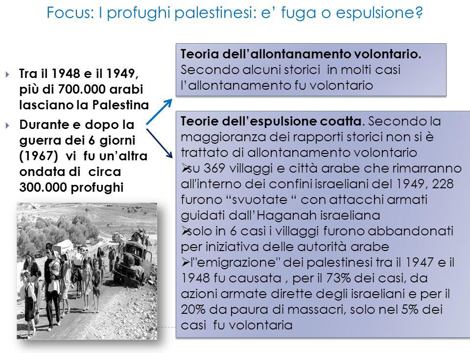  Tra il 1948 e il 1949, più di 700.000 arabi lasciano la Palestina  Durante e dopo la guerra dei 6 giorni (1967) vi fu un'altra ondata di circa 300.