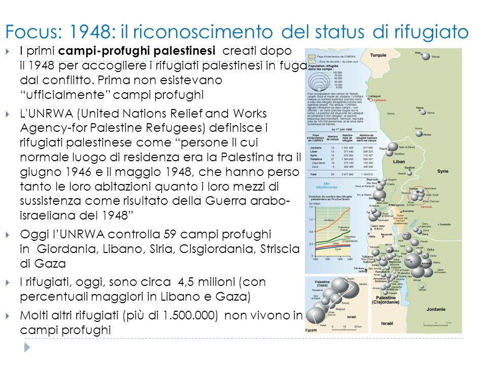 Focus: 1948: il riconoscimento del status di rifugiato  I primi campi-profughi palestinesi creati dopo il 1948 per accogliere i rifugiati palestinesi