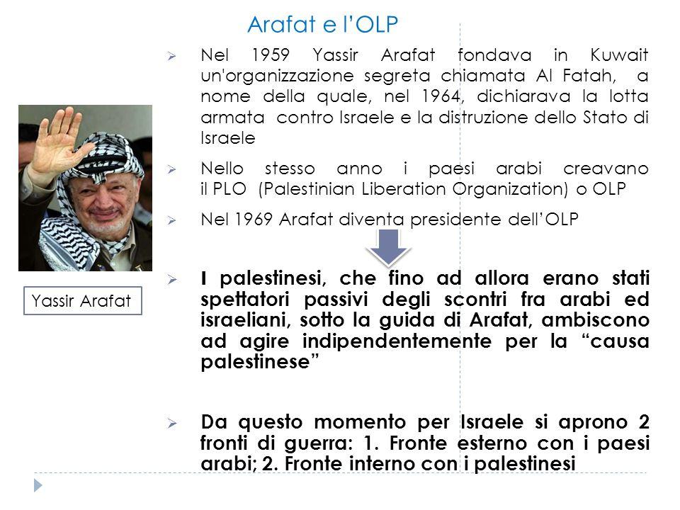 Arafat e l'OLP  Nel 1959 Yassir Arafat fondava in Kuwait un'organizzazione segreta chiamata Al Fatah, a nome della quale, nel 1964, dichiarava la lot