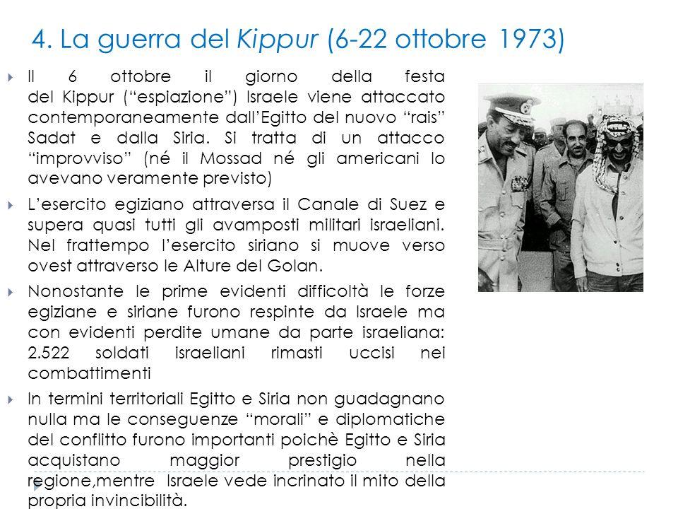 """4. La guerra del Kippur (6-22 ottobre 1973)  Il 6 ottobre il giorno della festa del Kippur (""""espiazione"""") Israele viene attaccato contemporaneamente"""