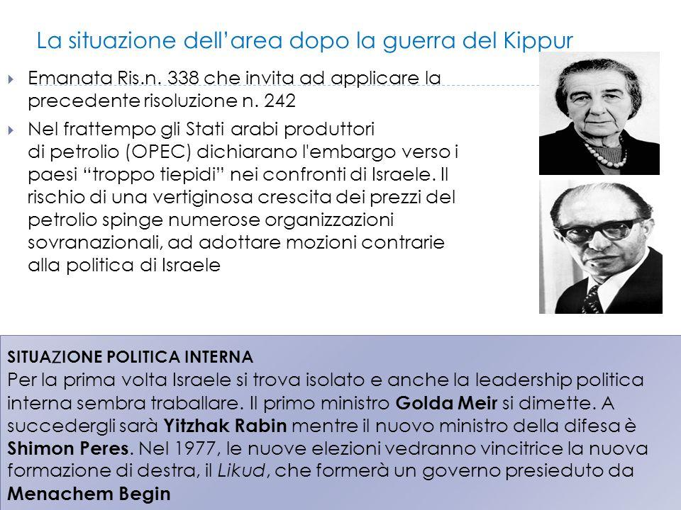 La situazione dell'area dopo la guerra del Kippur  Emanata Ris.n. 338 che invita ad applicare la precedente risoluzione n. 242  Nel frattempo gli St