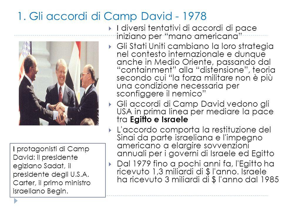 """1. Gli accordi di Camp David - 1978  I diversi tentativi di accordi di pace iniziano per """"mano americana""""  Gli Stati Uniti cambiano la loro strategi"""