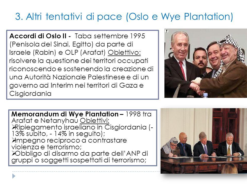 3. Altri tentativi di pace (Oslo e Wye Plantation) Accordi di Oslo II - Taba settembre 1995 (Penisola del Sinai, Egitto) da parte di Israele (Rabin) e