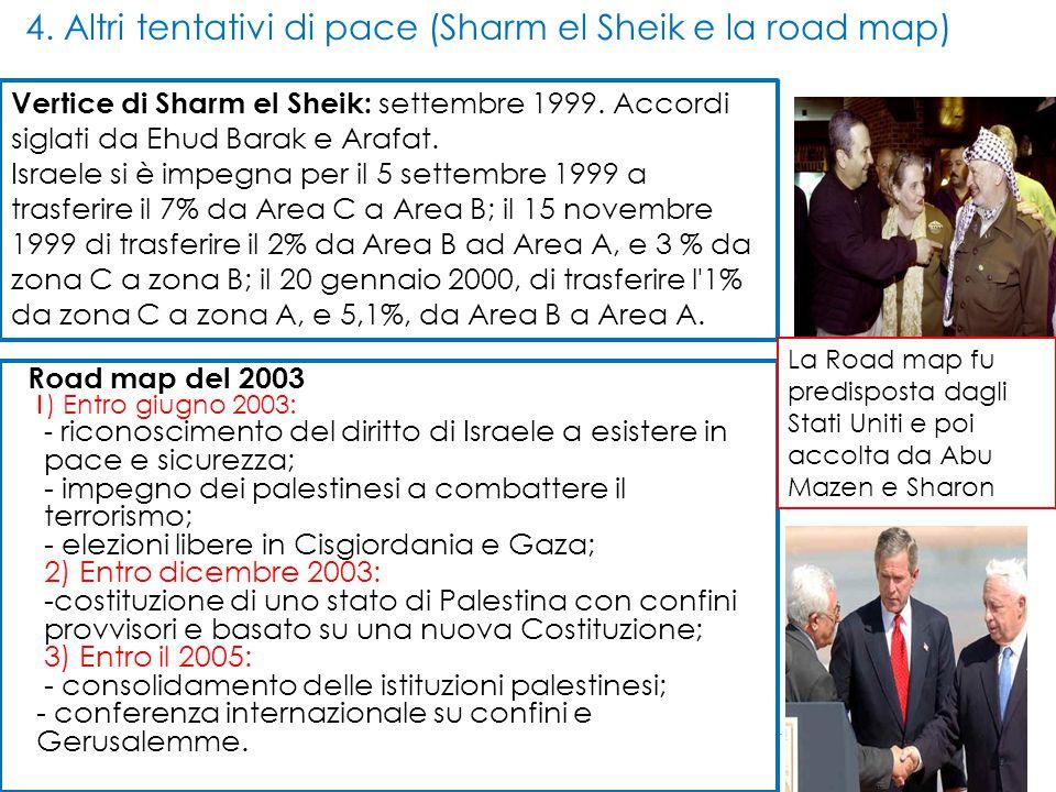 4. Altri tentativi di pace (Sharm el Sheik e la road map) Vertice di Sharm el Sheik: settembre 1999. Accordi siglati da Ehud Barak e Arafat. Israele s