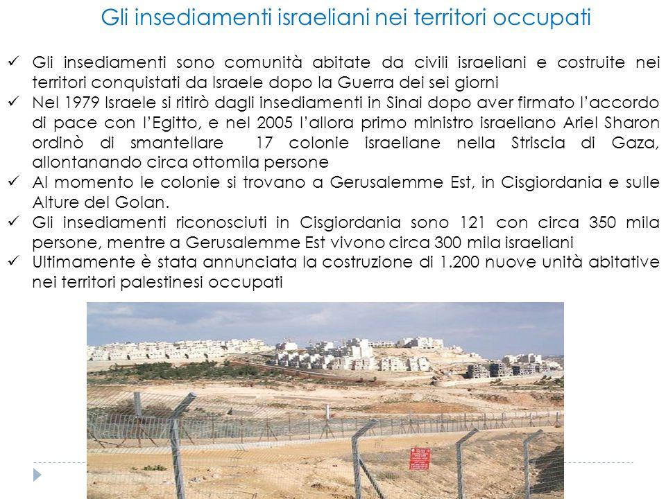 Gli insediamenti israeliani nei territori occupati Gli insediamenti sono comunità abitate da civili israeliani e costruite nei territori conquistati d