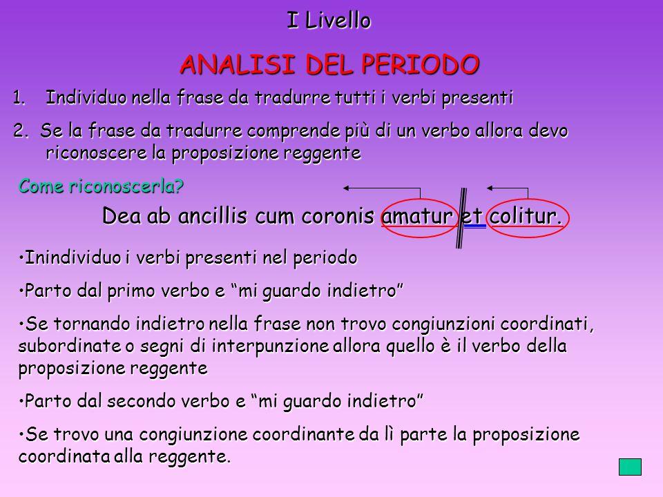 I Livello ANALISI DEL PERIODO 1.Individuo nella frase da tradurre tutti i verbi presenti 2.