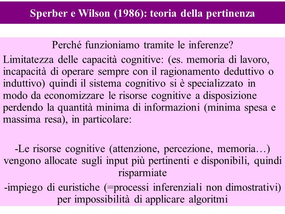 12 Perché funzioniamo tramite le inferenze? Limitatezza delle capacità cognitive: (es. memoria di lavoro, incapacità di operare sempre con il ragionam
