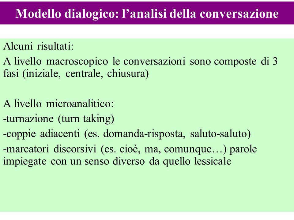 17 Alcuni risultati: A livello macroscopico le conversazioni sono composte di 3 fasi (iniziale, centrale, chiusura) A livello microanalitico: -turnazi