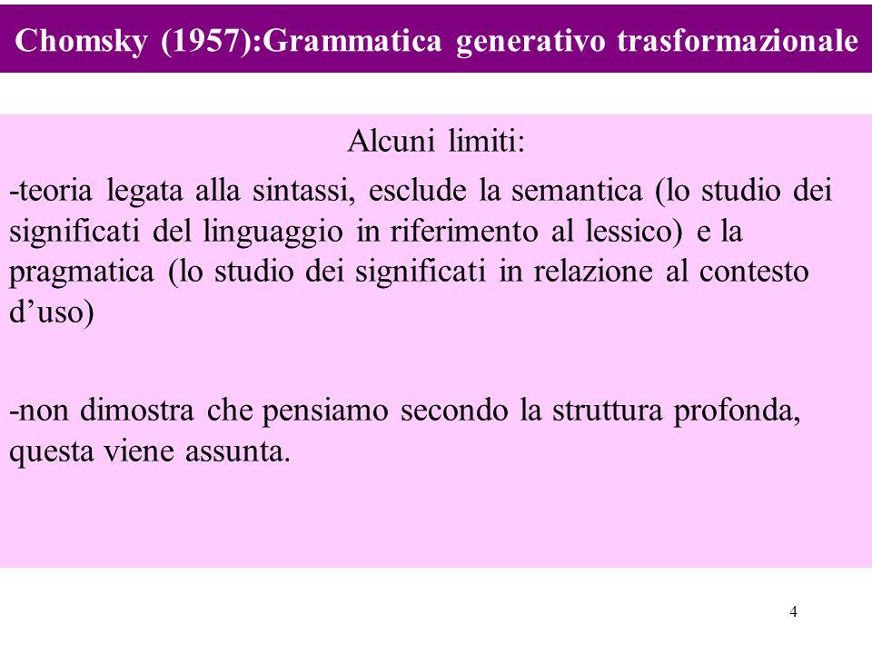 4 Alcuni limiti: -teoria legata alla sintassi, esclude la semantica (lo studio dei significati del linguaggio in riferimento al lessico) e la pragmati