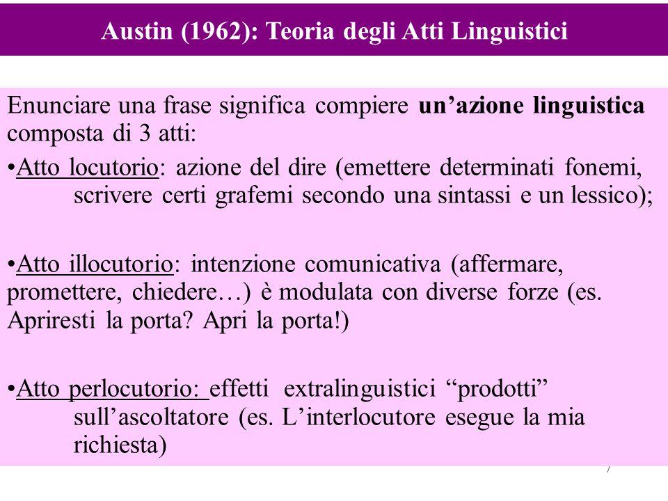 7 Enunciare una frase significa compiere un'azione linguistica composta di 3 atti: Atto locutorio: azione del dire (emettere determinati fonemi, scriv