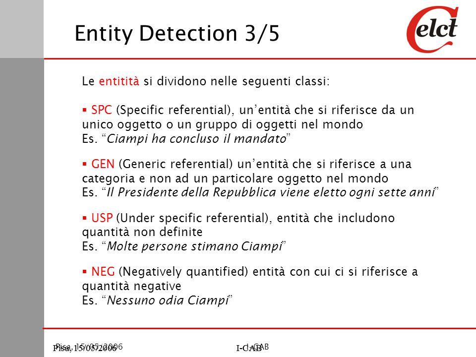 Pisa, 15/05/2006I-CABPisa, 15/05/2006I-CAB Pisa, 15/05/2006I-CAB Entity Detection 3/5 Le entitità si dividono nelle seguenti classi:  SPC (Specific referential), un'entità che si riferisce da un unico oggetto o un gruppo di oggetti nel mondo Es.