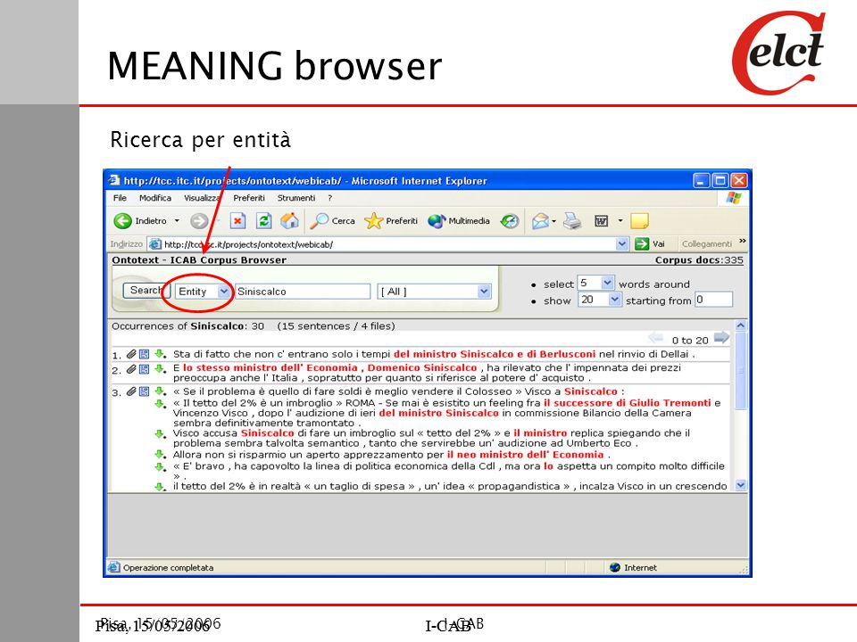 Pisa, 15/05/2006I-CABPisa, 15/05/2006I-CAB Pisa, 15/05/2006I-CAB MEANING browser Ricerca per entità