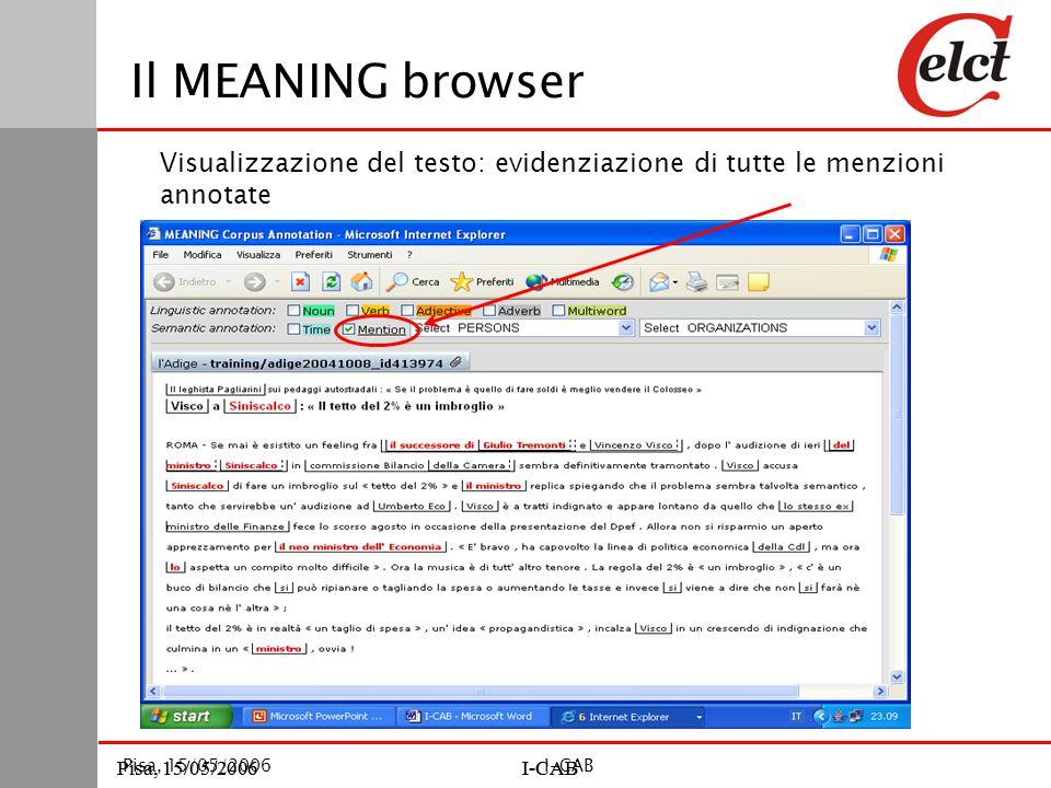 Pisa, 15/05/2006I-CABPisa, 15/05/2006I-CAB Pisa, 15/05/2006I-CAB Il MEANING browser Visualizzazione del testo: evidenziazione di tutte le menzioni annotate