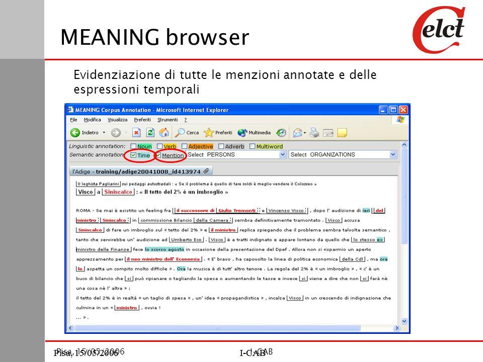 Pisa, 15/05/2006I-CABPisa, 15/05/2006I-CAB Pisa, 15/05/2006I-CAB MEANING browser Evidenziazione di tutte le menzioni annotate e delle espressioni temporali
