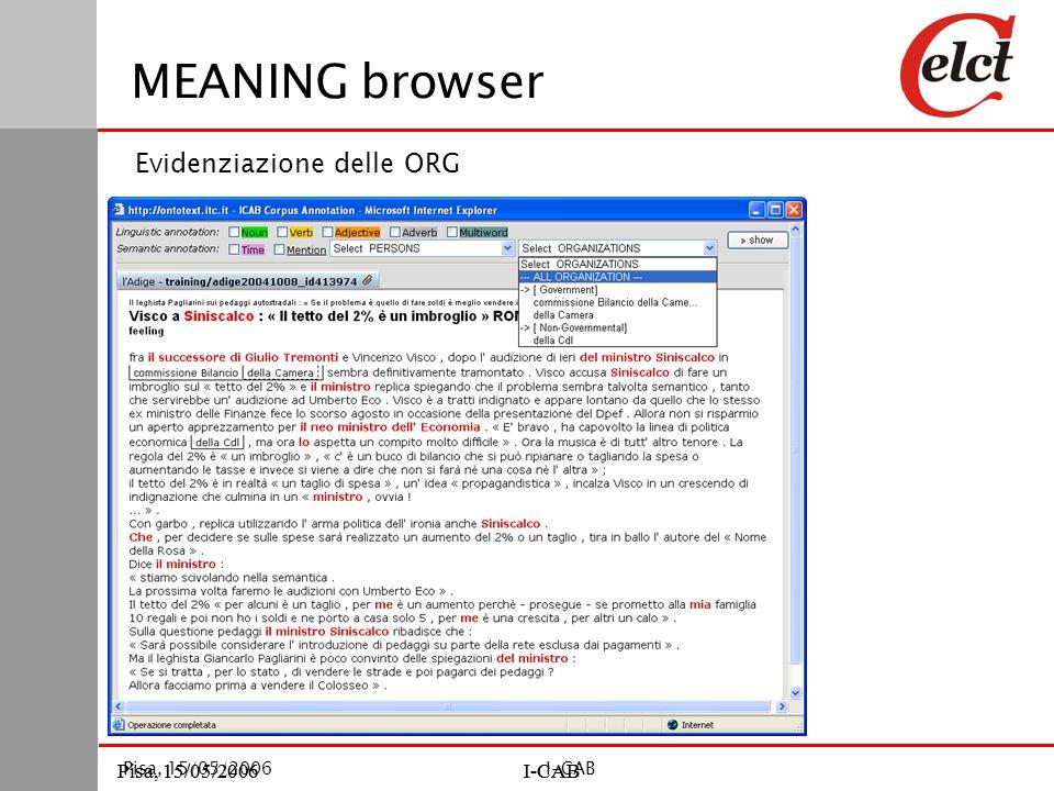 Pisa, 15/05/2006I-CABPisa, 15/05/2006I-CAB Pisa, 15/05/2006I-CAB MEANING browser Evidenziazione delle ORG