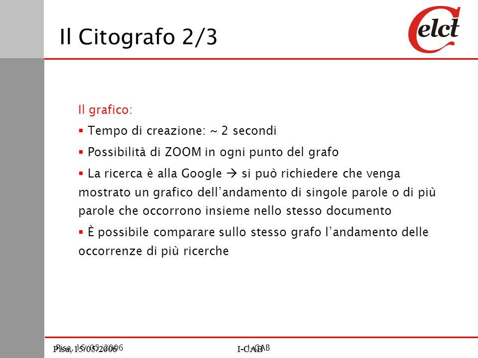 Pisa, 15/05/2006I-CABPisa, 15/05/2006I-CAB Pisa, 15/05/2006I-CAB Il Citografo 2/3 Il grafico:  Tempo di creazione: ~ 2 secondi  Possibilità di ZOOM in ogni punto del grafo  La ricerca è alla Google  si può richiedere che venga mostrato un grafico dell'andamento di singole parole o di più parole che occorrono insieme nello stesso documento  È possibile comparare sullo stesso grafo l'andamento delle occorrenze di più ricerche