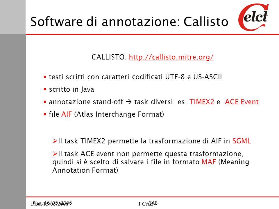 Pisa, 15/05/2006I-CABPisa, 15/05/2006I-CAB Pisa, 15/05/2006I-CAB Software di annotazione: Callisto CALLISTO: http://callisto.mitre.org/http://callisto.mitre.org/  testi scritti con caratteri codificati UTF-8 e US-ASCII  scritto in Java  annotazione stand-off  task diversi: es.