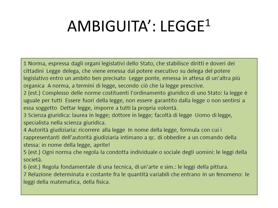 AMBIGUITA': LEGGE 1 1 Norma, espressa dagli organi legislativi dello Stato, che stabilisce diritti e doveri dei cittadini Legge delega, che viene emes
