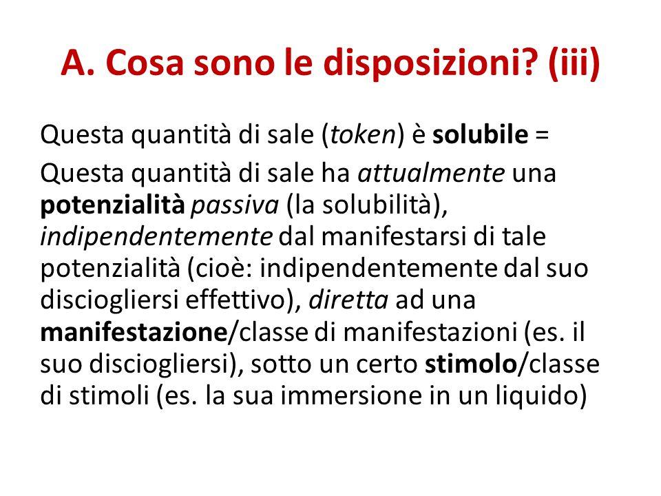 A. Cosa sono le disposizioni? (iii) Questa quantità di sale (token) è solubile = Questa quantità di sale ha attualmente una potenzialità passiva (la s