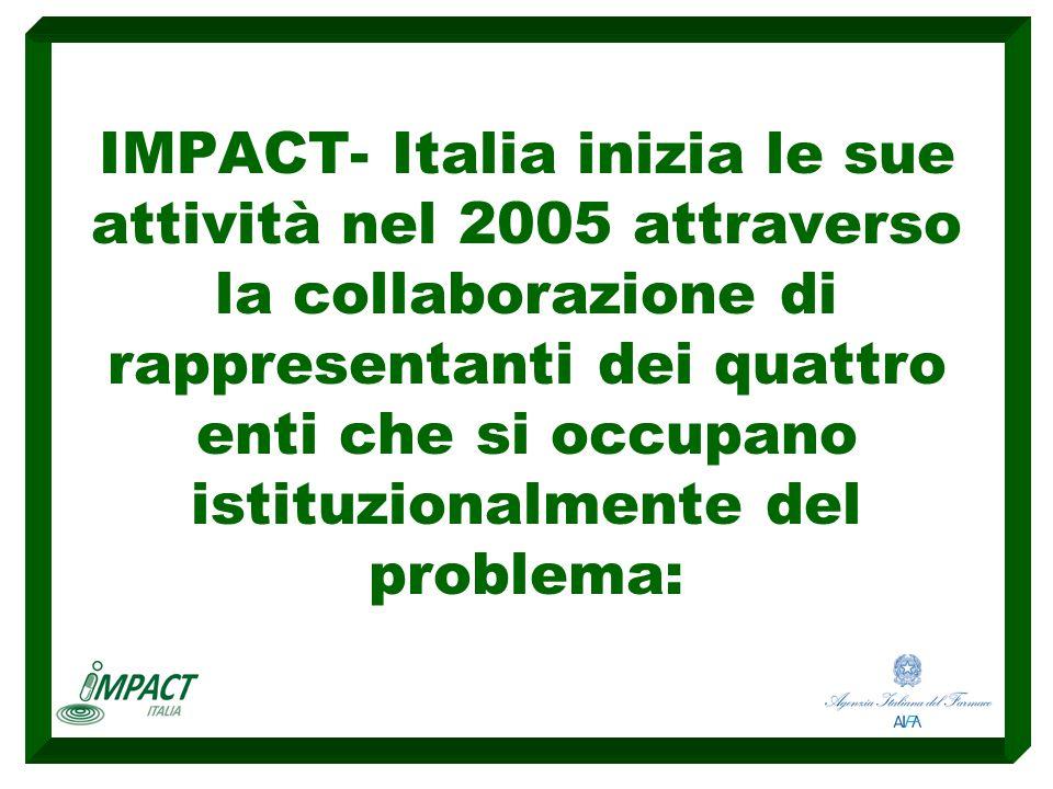 IMPACT- Italia inizia le sue attività nel 2005 attraverso la collaborazione di rappresentanti dei quattro enti che si occupano istituzionalmente del problema: