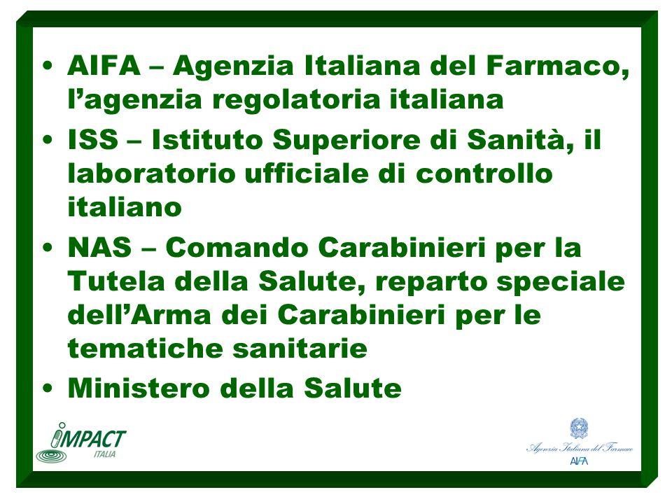 AIFA – Agenzia Italiana del Farmaco, l'agenzia regolatoria italiana ISS – Istituto Superiore di Sanità, il laboratorio ufficiale di controllo italiano