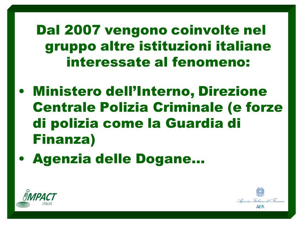 Dal 2007 vengono coinvolte nel gruppo altre istituzioni italiane interessate al fenomeno: Ministero dell'Interno, Direzione Centrale Polizia Criminale (e forze di polizia come la Guardia di Finanza) Agenzia delle Dogane…