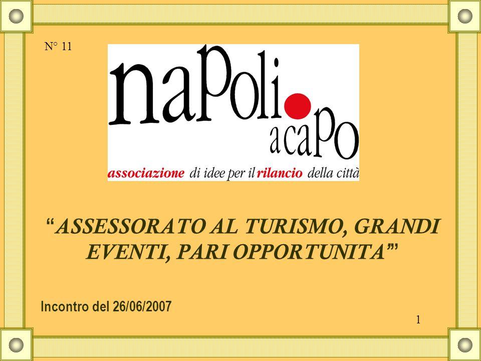 ASSESSORATO AL TURISMO, GRANDI EVENTI, PARI OPPORTUNITA ' Incontro del 26/06/2007 N° 11 1