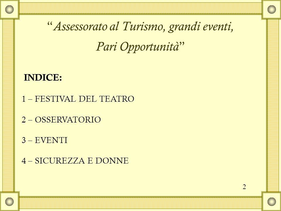 Assessorato al Turismo, grandi eventi, Pari Opportunità 1 – FESTIVAL DEL TEATRO 2 – OSSERVATORIO 3 – EVENTI 4 – SICUREZZA E DONNE INDICE: 2