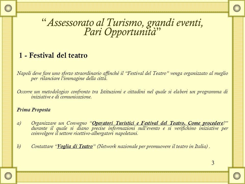 Napoli deve fare uno sforzo straordinario affinché il Festival del Teatro venga organizzato al meglio per rilanciare l'immagine della città.