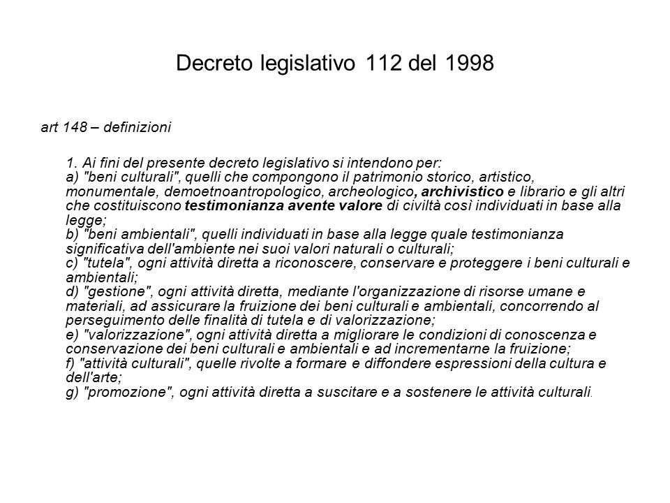Decreto legislativo 112 del 1998 art 148 – definizioni 1.