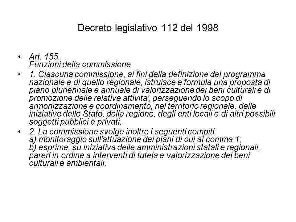 Decreto legislativo 112 del 1998 Art. 155. Funzioni della commissione 1.