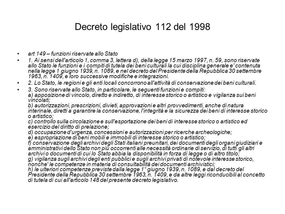 Decreto legislativo 112 del 1998 art 149 – funzioni riservate allo Stato 1.