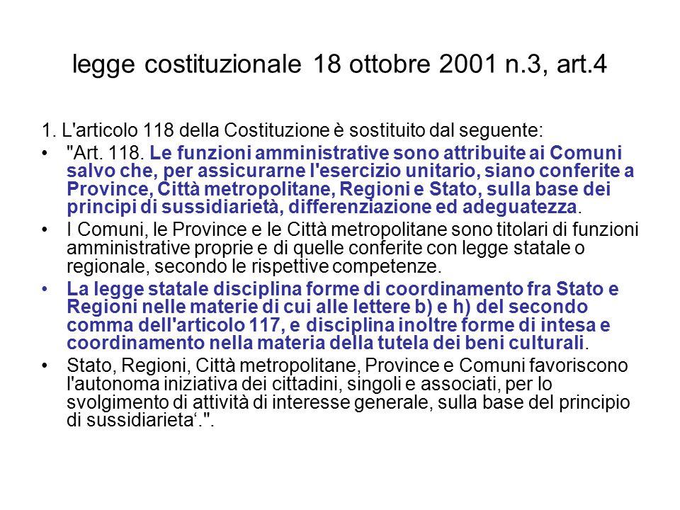 legge costituzionale 18 ottobre 2001 n.3, art.4 1.