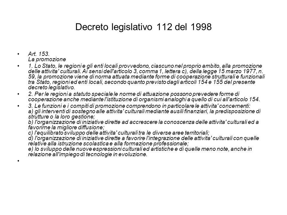Decreto legislativo 112 del 1998 Art. 153. La promozione 1.