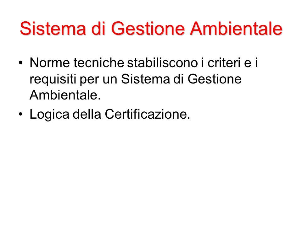 Sistema di Gestione Ambientale Norme tecniche stabiliscono i criteri e i requisiti per un Sistema di Gestione Ambientale.